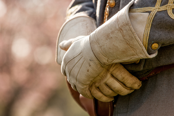 Leather Gloves / A reenactment in Virginia. A close up of the ha