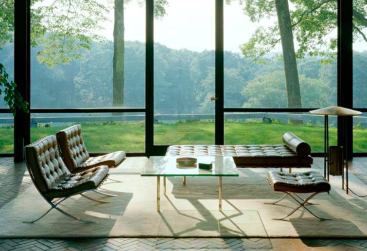 Philip Johnsonu0027s Glass House With Furniture By Meis Van De Rohe.